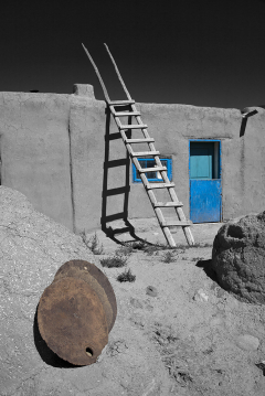 Taos Pueblo Ladder B&W w color