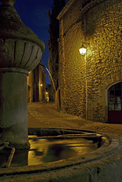 Vaison la Romaine Fountain at Night