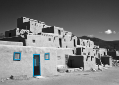 Taos Pueblo B&W blue door